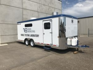 Mobile testing lab for highway paving projects