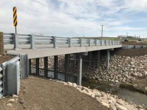 Bridge replacement, pothole creek in Cardston County
